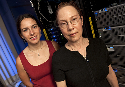 Researchers Hannah Carter and Rachel Karchin are affiliated with Johns Hopkins' Institute for Computational Medicine, which uses powerful information management and computing technologies to address important health problems. Photo by Will Kirk.