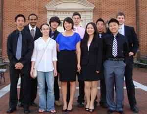 The Johns Hopkins students inventors are, from left in the back row: Mikel McDonald, Hyo Jun Kim, Joshua Budman, Joe Chao, David Huberdeau; front row: Yoshiaki Sono,  Valeriya Aranovich, Jessica Hu, Jessica Chen, Byron Tang.