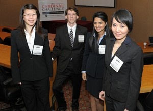 The Johns Hopkins biomedical engineering students who helped  develop the CervoCheck system were, from left, Karin Hwang, Chris  Courville, Deepika Sagaram and Rose Huang. Photo courtesy of the  University of Louisville Brown-Forman Cardinal Challenge Business Plan  Competition.