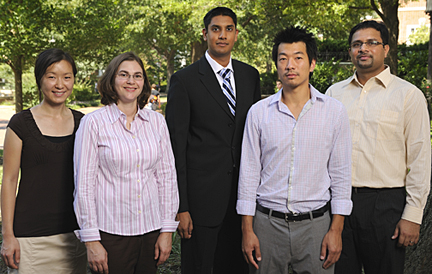 Siebel Scholars Ying-Ying Wang, Ivy Dick, Vikram Aggarwal, Kelvin Liu and Prashant Mali will each receive $35,000 for use in his or her final year of graduate studies at Johns Hopkins. Photo by Will Kirk/HomewoodPhoto.jhu.edu