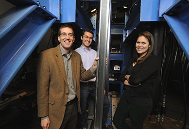 Ben Schafer with grad students Luiz Vieira and Kara Peterman in the lab where he is studying how seismic forces affect mid-rise cold-formed-steel buildings. Photo: Will Kirk/Homewoodphoto.jhu.edu