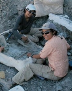 Celina and Marina Suarez (right) at the Utah excavation site