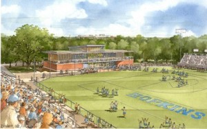 A conceptual drawing of the Cordish Lacrosse Center, as seen from Schelle Pavilion.