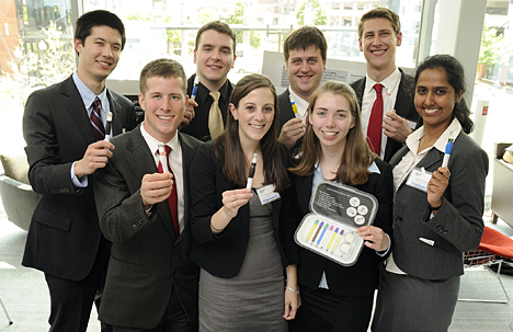 The graduate students who developed the prizewinning Antenatal Screening Kit are., front row from left, Matthew Means, Sherri Hall, Mary O'Grady, Shishira Nagesh, and back row, from left, Peter Truskey, Maxim Budyansky, Sean Monagle, James Waring. Photo by Will Kirk/Homewoodphoto.jhu.edu.