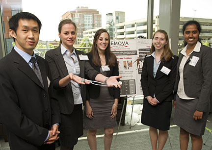 The Hemova Port was developed by Johns Hopkin biomedical engineering graduate student, from left, Peter Li, Thora Thorgilsdottir, Sherri Hall, Mary O'Grady and Shishira Nagesh. Photo by Will Kirk/Homewoodphoto.jhu.edu