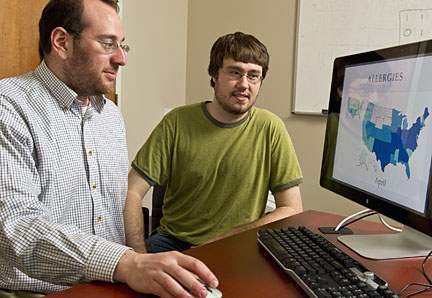 Johns Hopkins computer scientists Mark Dredze, left, and Michael J. Paul, found that Twitter posts could yield useful public health information. Photo by Will Kirk/Homewoodphoto.jhu.edu