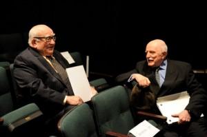 Ed Asner, left, and John Astin. Photo by Will Kirk/HomewoodPhoto.jhu.edu