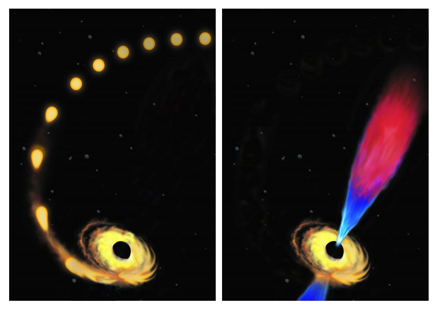 illustration of a black hole eating a star