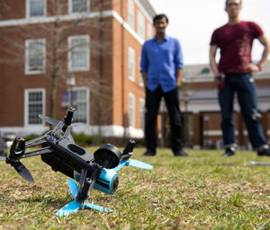 "Johns Hopkins computer science grad students and their professor discovered three security flaws in a popular hobby drone, all of which can cause the small aircraft to make an ""uncontrolled landing."" (Credit: Will Kirk/Johns Hopkins University)"