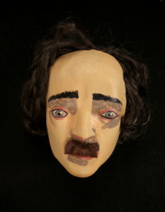 "Edgar Allan Poe latex mask, from a promotional kit for the television show ""The Following."""