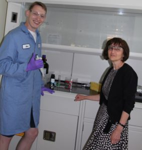 Graduate student Alexander Konin and materials scientist Kalina Hristova.